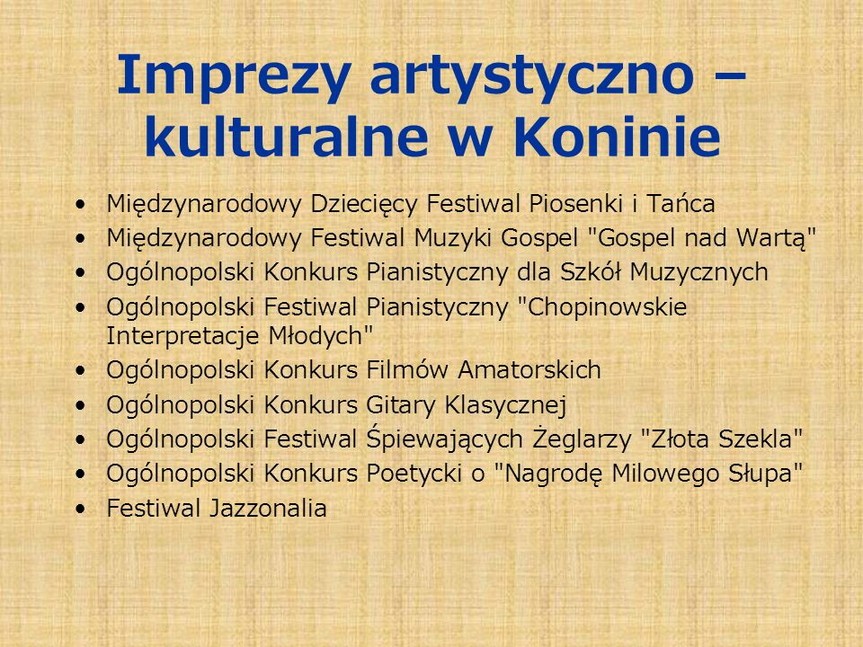 Imprezy artystyczno – kulturalne w Koninie