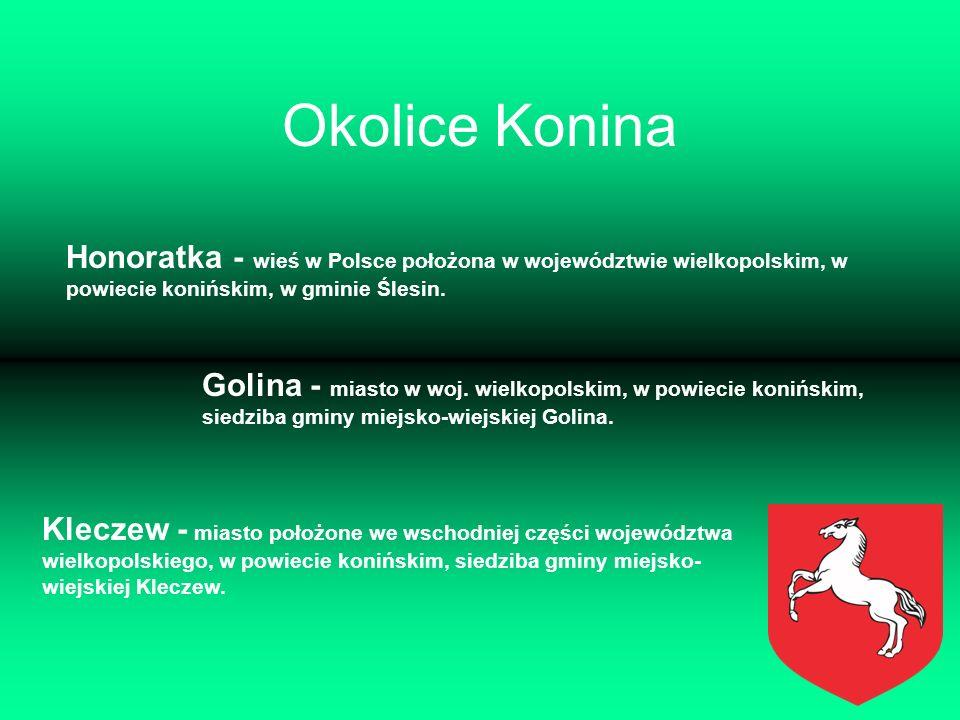 Okolice Konina Honoratka - wieś w Polsce położona w województwie wielkopolskim, w powiecie konińskim, w gminie Ślesin.