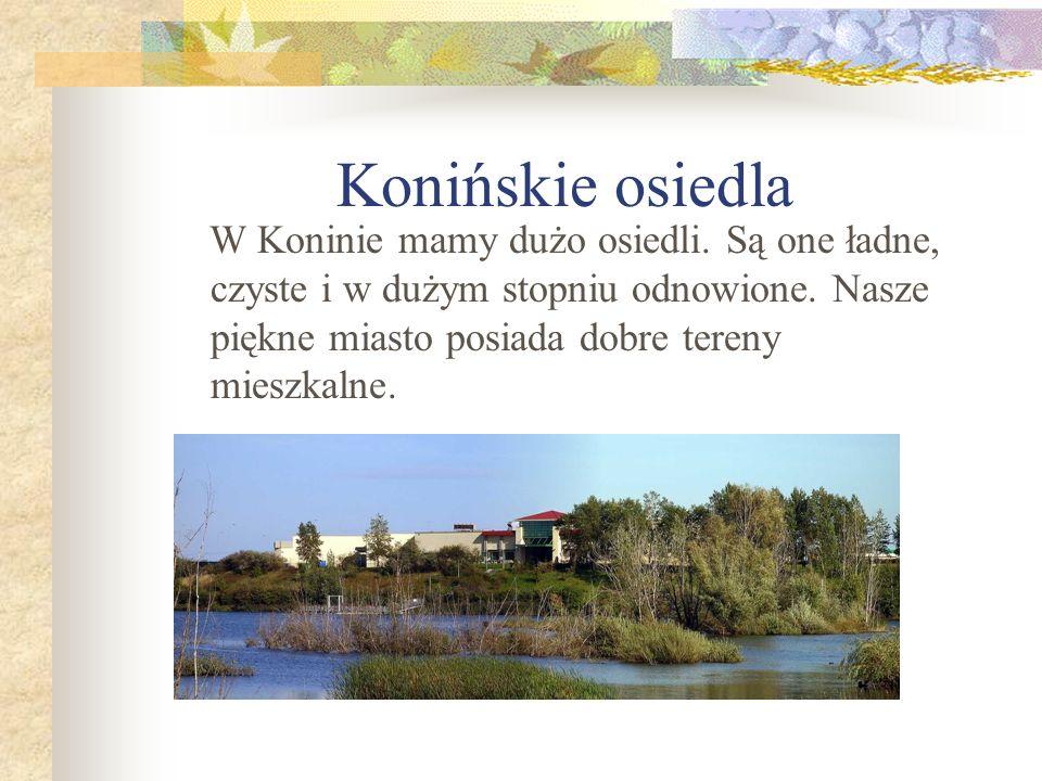 Konińskie osiedla W Koninie mamy dużo osiedli. Są one ładne, czyste i w dużym stopniu odnowione.