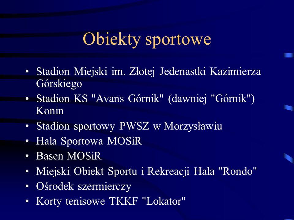 Obiekty sportowe Stadion Miejski im. Złotej Jedenastki Kazimierza Górskiego. Stadion KS Avans Górnik (dawniej Górnik ) Konin.