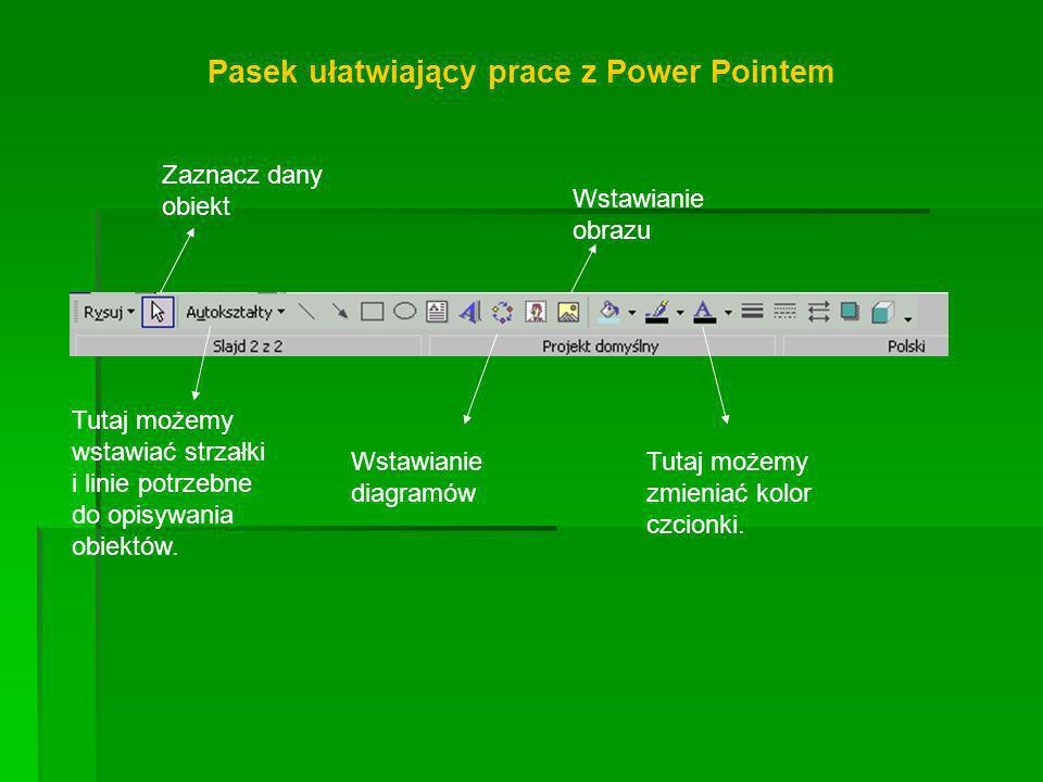 Pasek ułatwiający prace z Power Pointem
