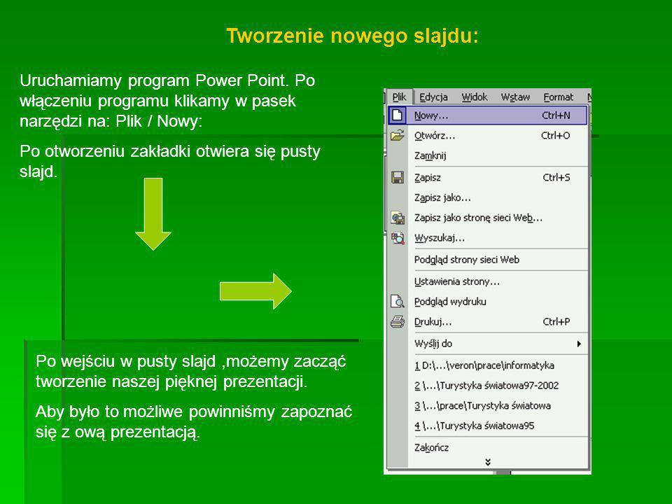 Tworzenie nowego slajdu:
