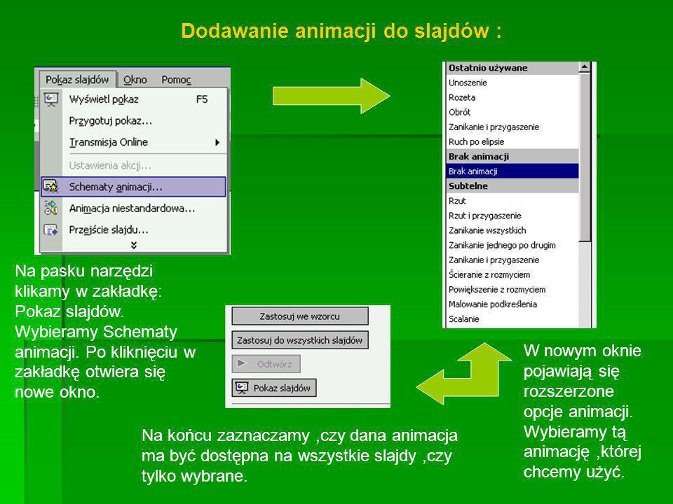 Dodawanie animacji do slajdów :