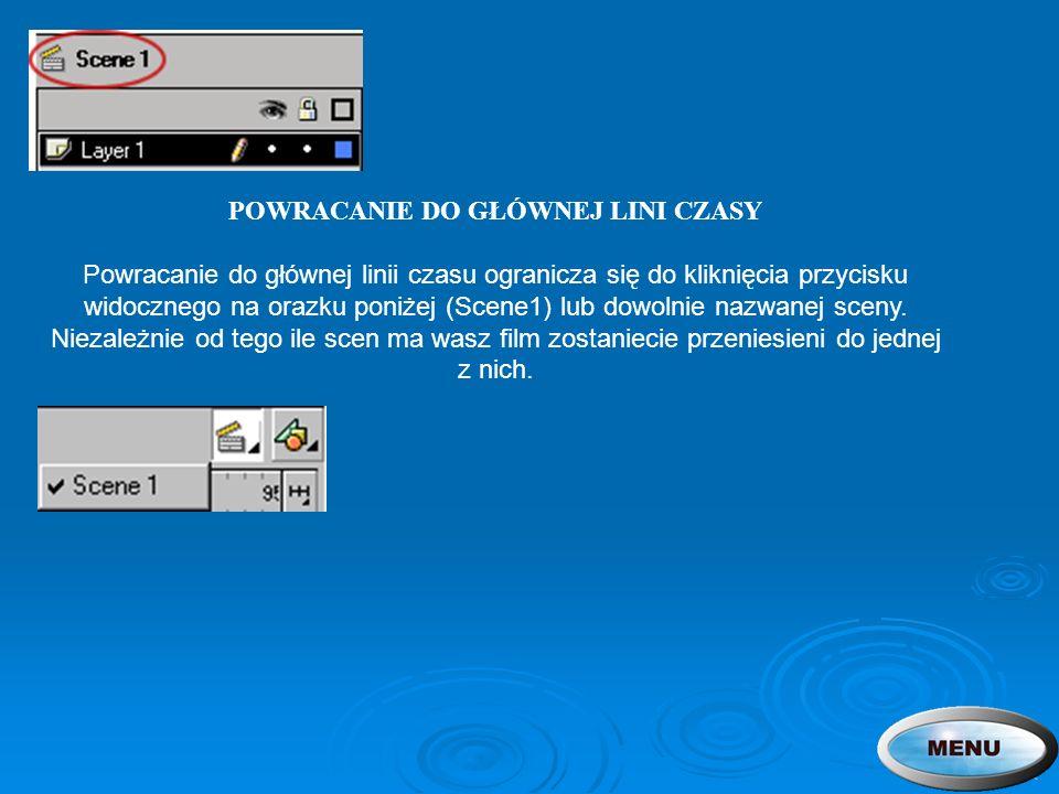 POWRACANIE DO GŁÓWNEJ LINI CZASY Powracanie do głównej linii czasu ogranicza się do kliknięcia przycisku widocznego na orazku poniżej (Scene1) lub dowolnie nazwanej sceny.