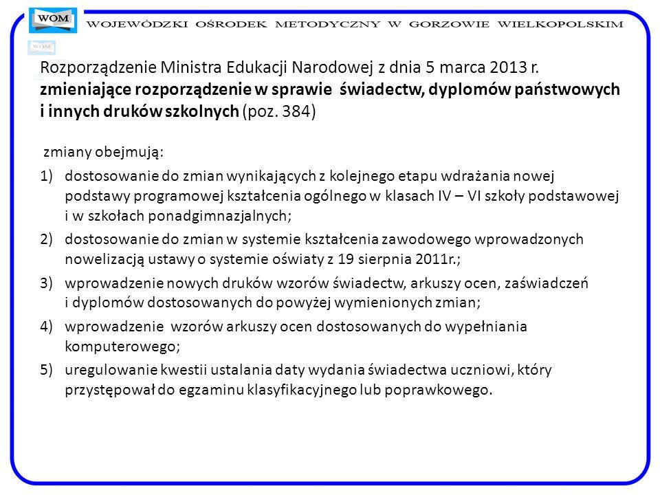 Rozporządzenie Ministra Edukacji Narodowej z dnia 5 marca 2013 r
