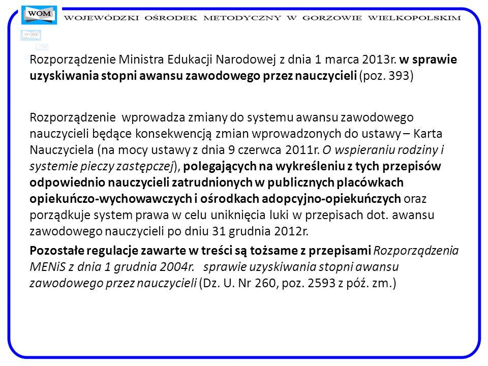 Rozporządzenie Ministra Edukacji Narodowej z dnia 1 marca 2013r