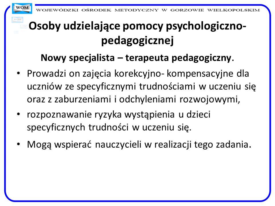 Osoby udzielające pomocy psychologiczno-pedagogicznej