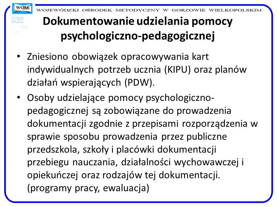 Dokumentowanie udzielania pomocy psychologiczno-pedagogicznej