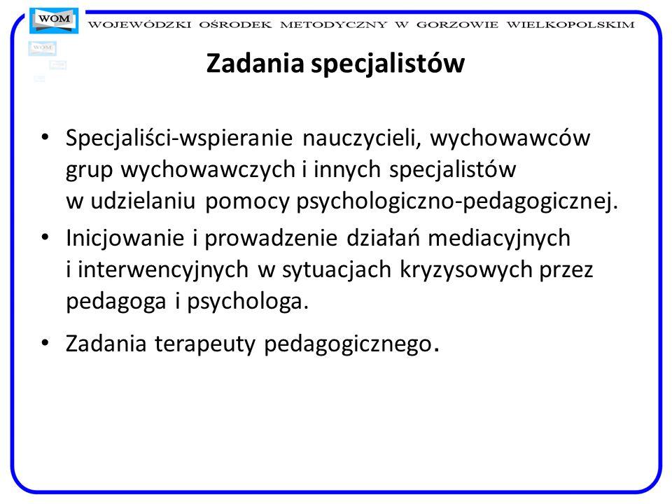 Zadania specjalistów