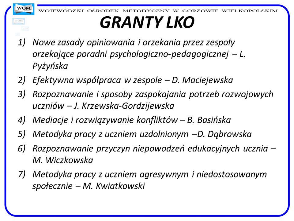 GRANTY LKO Nowe zasady opiniowania i orzekania przez zespoły orzekające poradni psychologiczno-pedagogicznej – L. Pyżyńska.