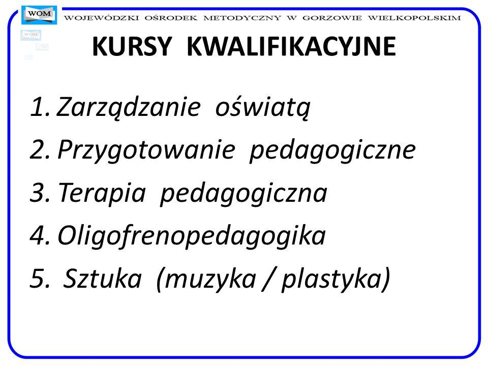 KURSY KWALIFIKACYJNE Zarządzanie oświatą. Przygotowanie pedagogiczne. Terapia pedagogiczna. Oligofrenopedagogika.