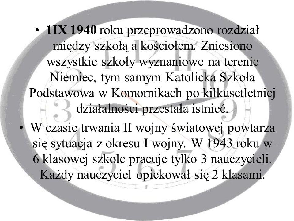 1IX 1940 roku przeprowadzono rozdział między szkołą a kościołem
