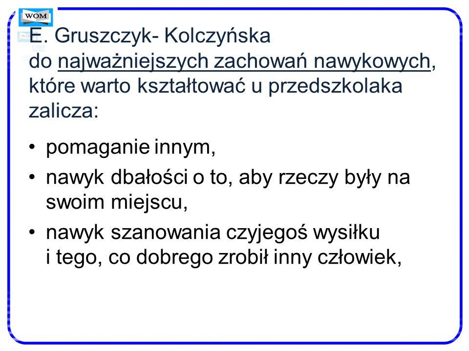 E. Gruszczyk- Kolczyńska do najważniejszych zachowań nawykowych, które warto kształtować u przedszkolaka zalicza:
