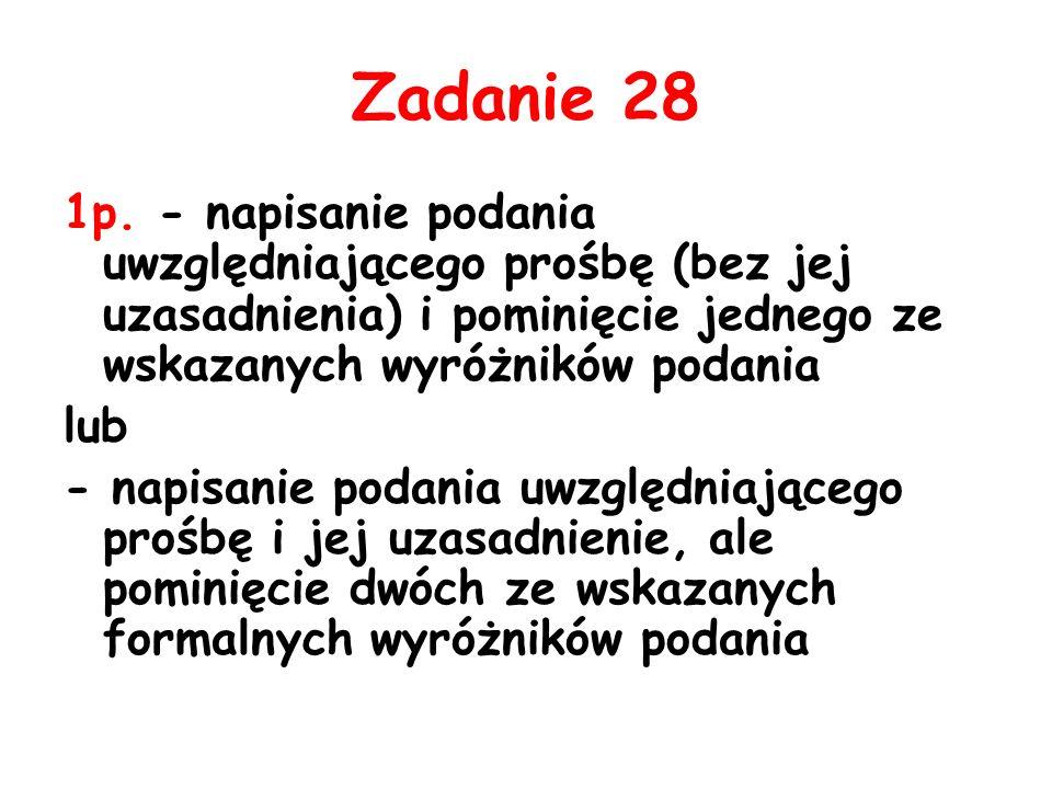 Zadanie 28 1p. - napisanie podania uwzględniającego prośbę (bez jej uzasadnienia) i pominięcie jednego ze wskazanych wyróżników podania.