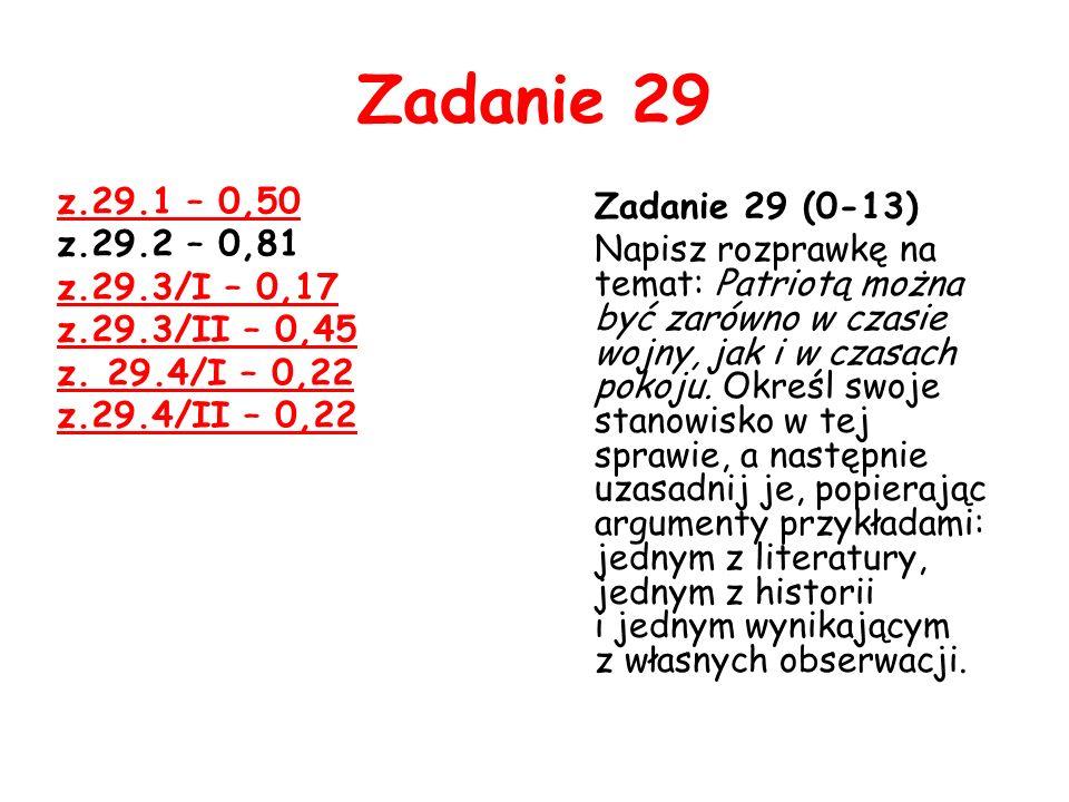 Zadanie 29 z.29.1 – 0,50 z.29.2 – 0,81 z.29.3/I – 0,17 z.29.3/II – 0,45 z. 29.4/I – 0,22 z.29.4/II – 0,22