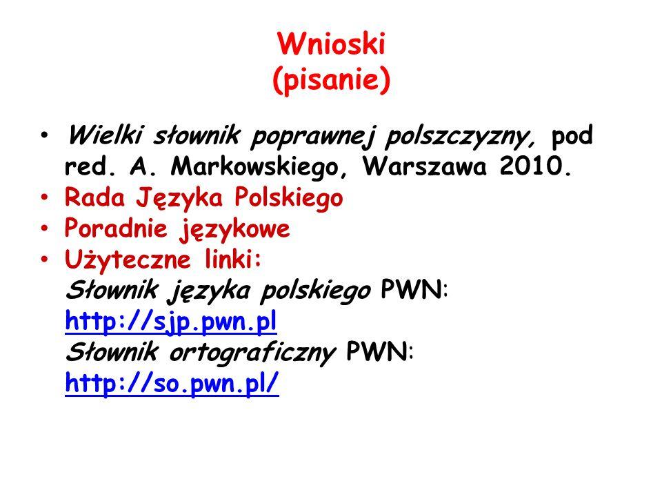Wnioski (pisanie) Wielki słownik poprawnej polszczyzny, pod red. A. Markowskiego, Warszawa 2010. Rada Języka Polskiego.