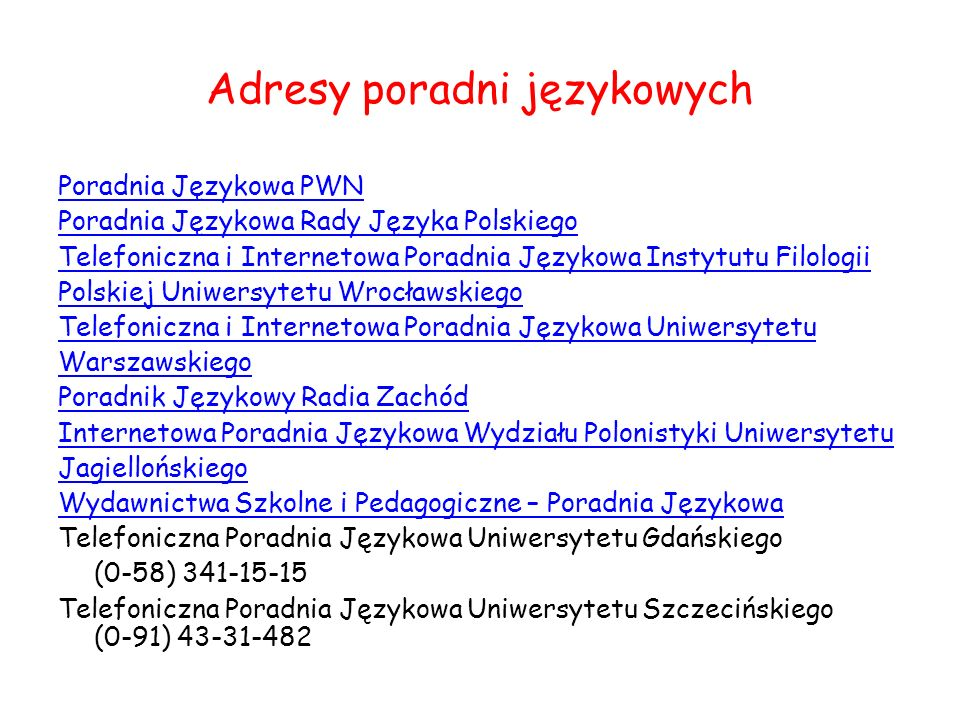 Adresy poradni językowych