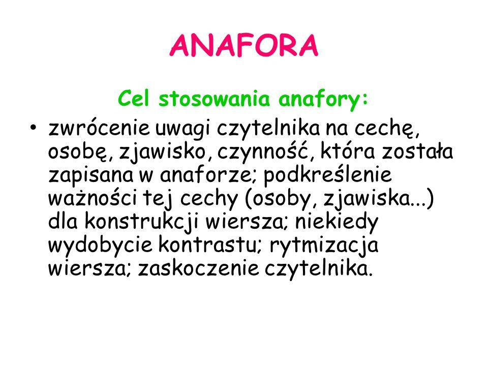 Cel stosowania anafory: