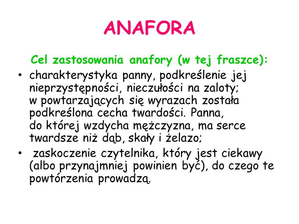 Cel zastosowania anafory (w tej fraszce):