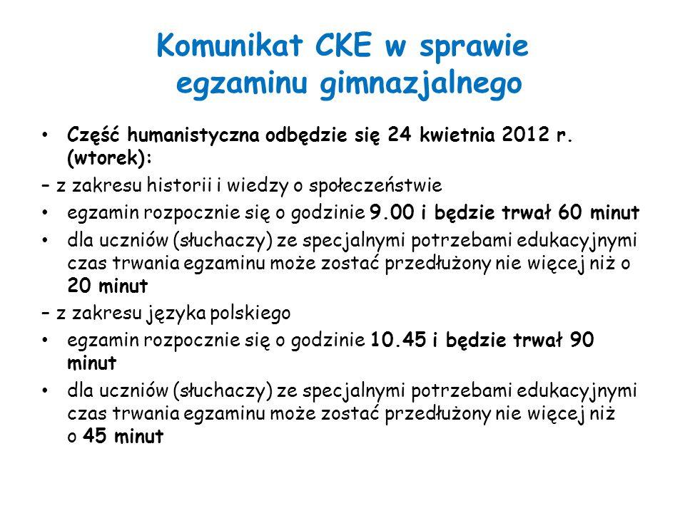 Komunikat CKE w sprawie egzaminu gimnazjalnego