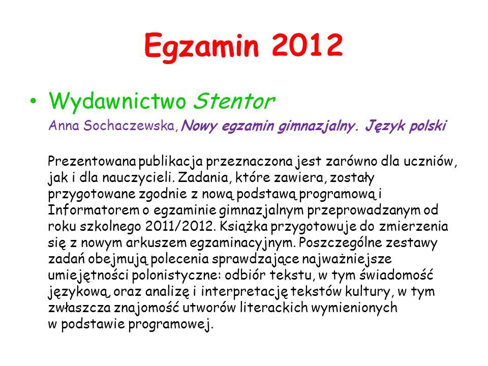 Egzamin 2012 Wydawnictwo Stentor