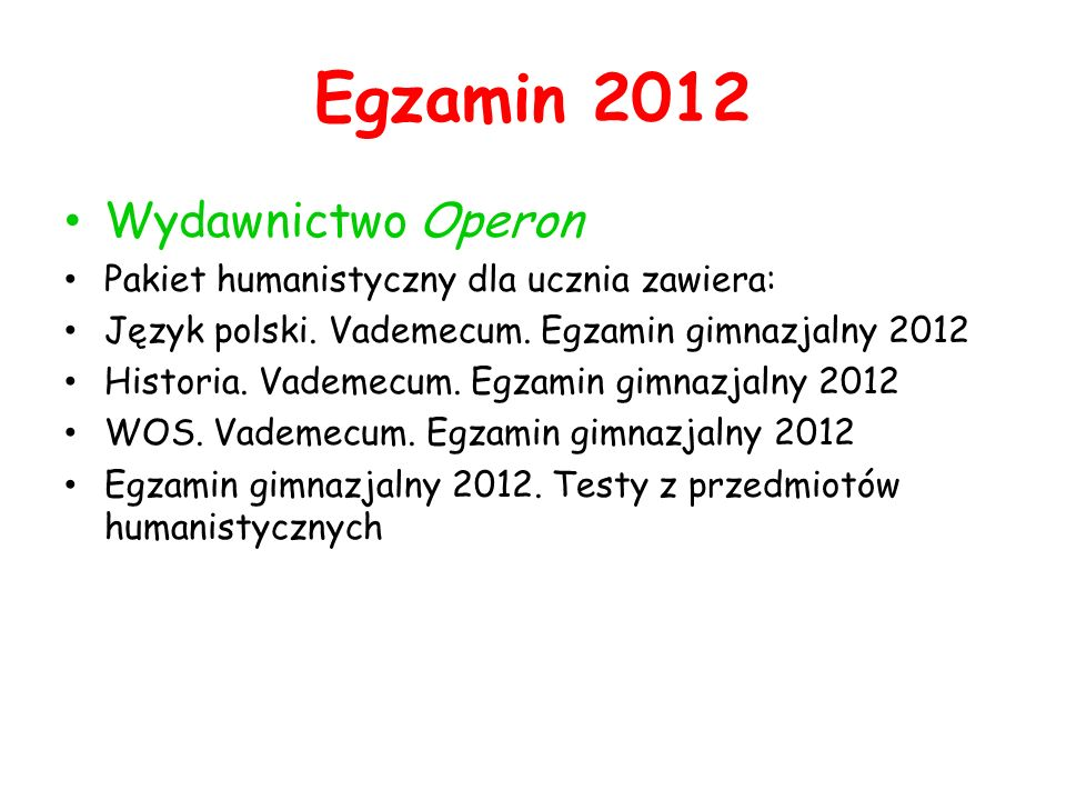 Egzamin 2012 Wydawnictwo Operon