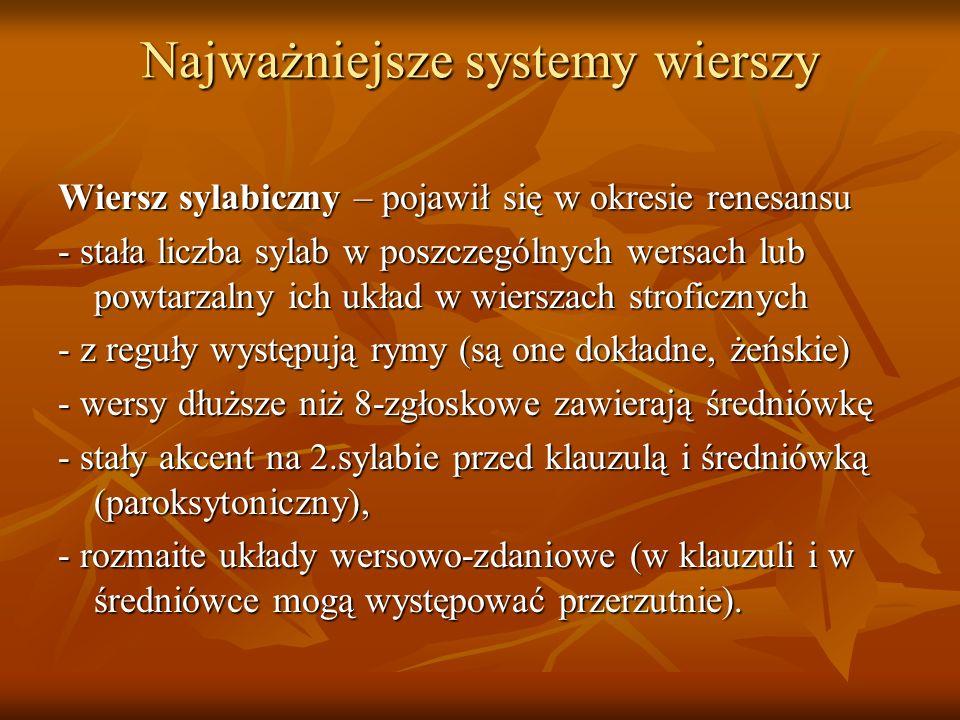 Najważniejsze systemy wierszy