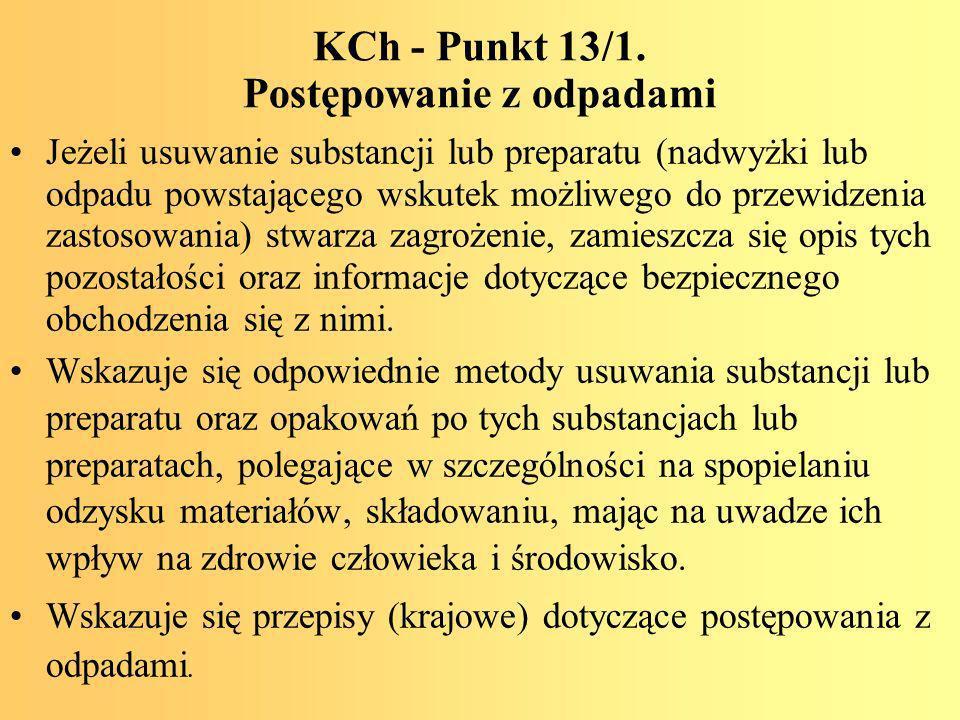 KCh - Punkt 13/1. Postępowanie z odpadami