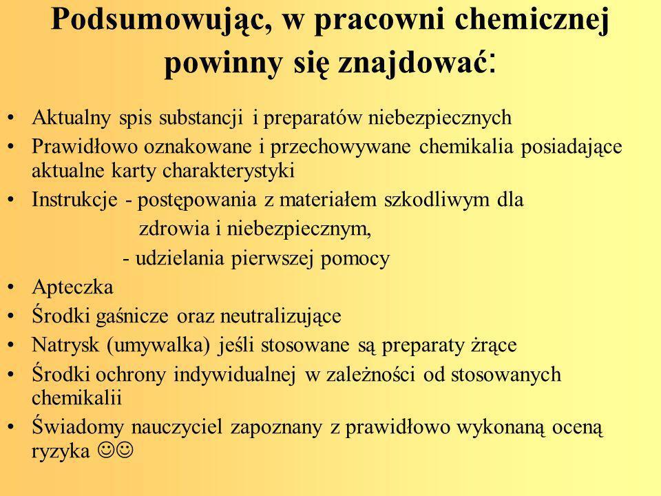 Podsumowując, w pracowni chemicznej powinny się znajdować: