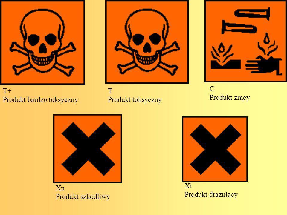 C Produkt żrący. T+ Produkt bardzo toksyczny. T. Produkt toksyczny. Xi. Produkt drażniący. Xn.
