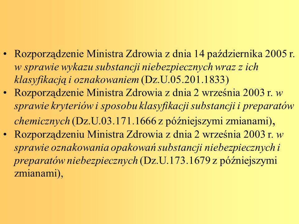 Rozporządzenie Ministra Zdrowia z dnia 14 października 2005 r