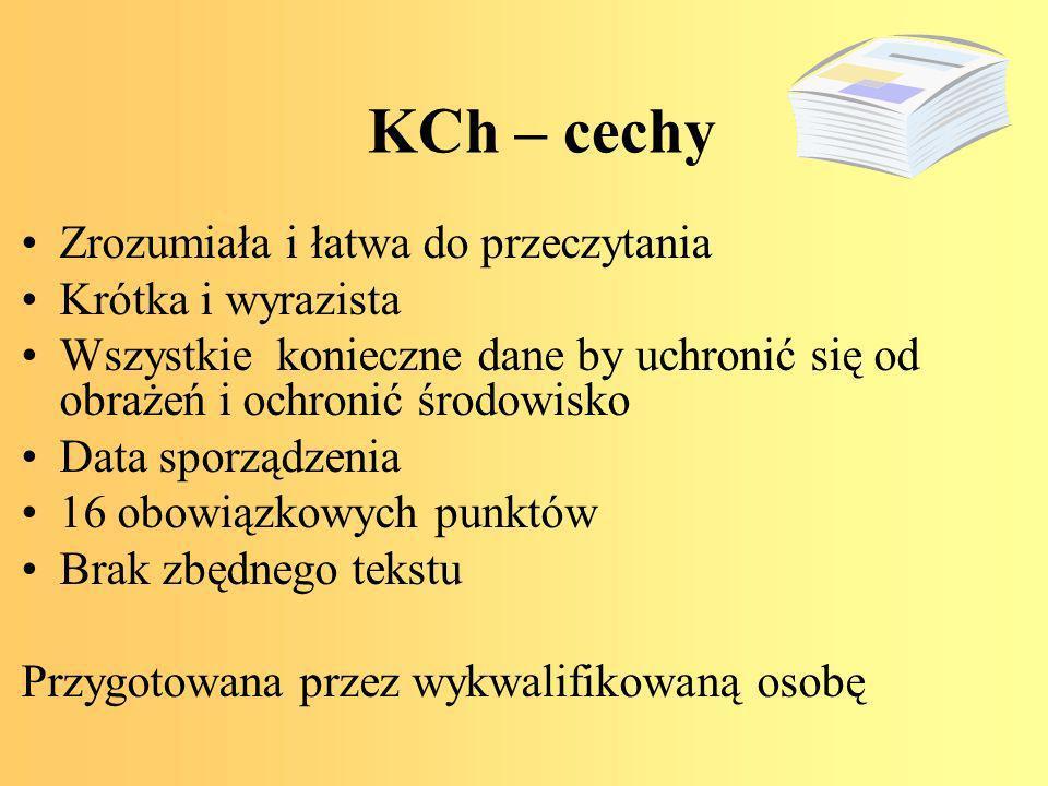 KCh – cechy Zrozumiała i łatwa do przeczytania Krótka i wyrazista