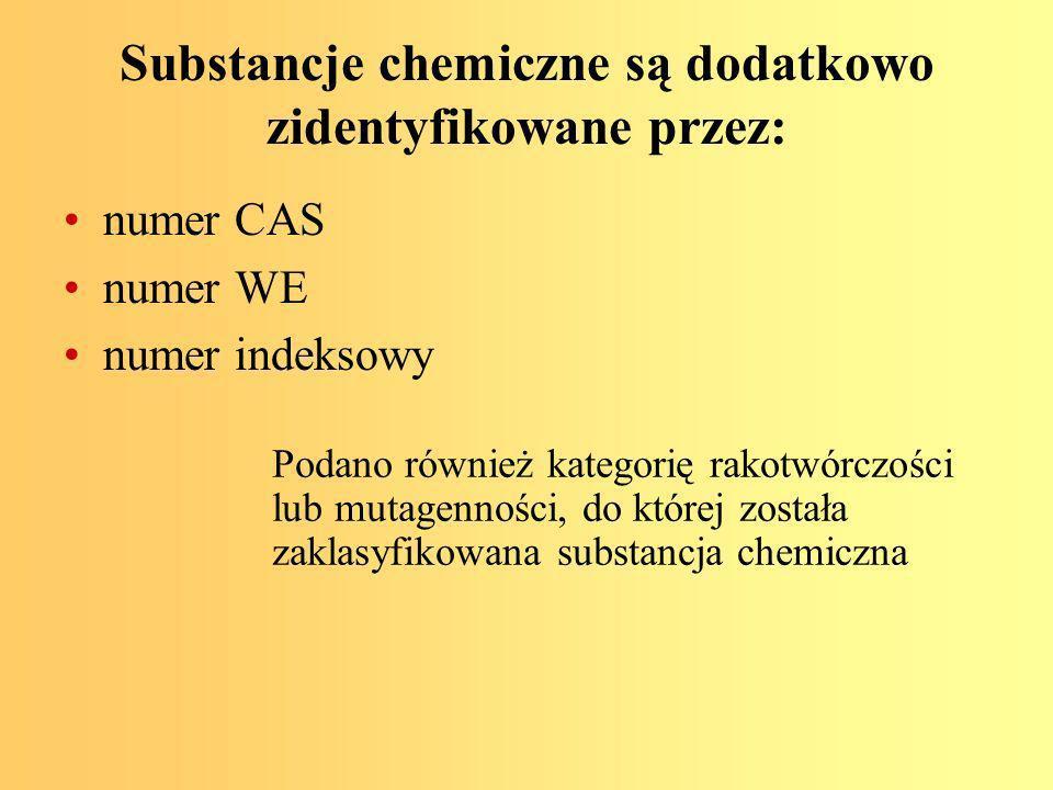 Substancje chemiczne są dodatkowo zidentyfikowane przez: