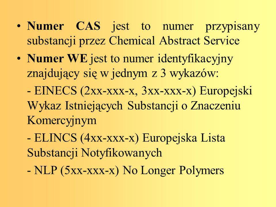 Numer CAS jest to numer przypisany substancji przez Chemical Abstract Service