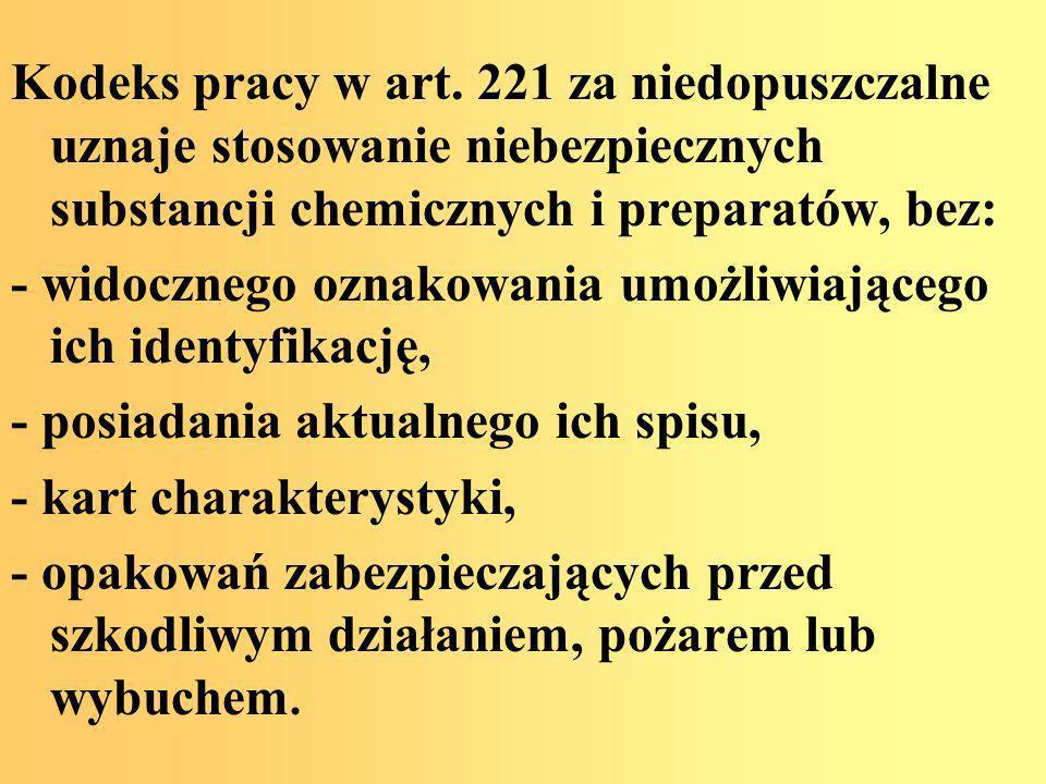 Kodeks pracy w art. 221 za niedopuszczalne uznaje stosowanie niebezpiecznych substancji chemicznych i preparatów, bez: