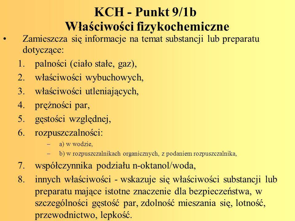 KCH - Punkt 9/1b Właściwości fizykochemiczne