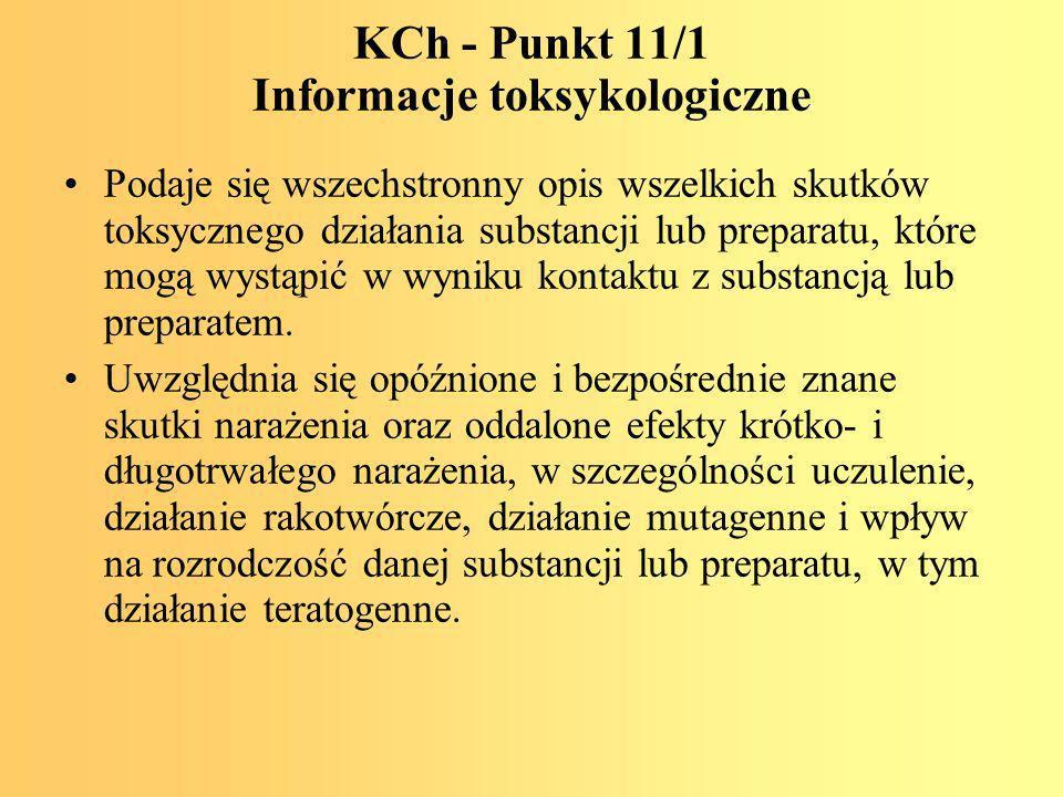 KCh - Punkt 11/1 Informacje toksykologiczne