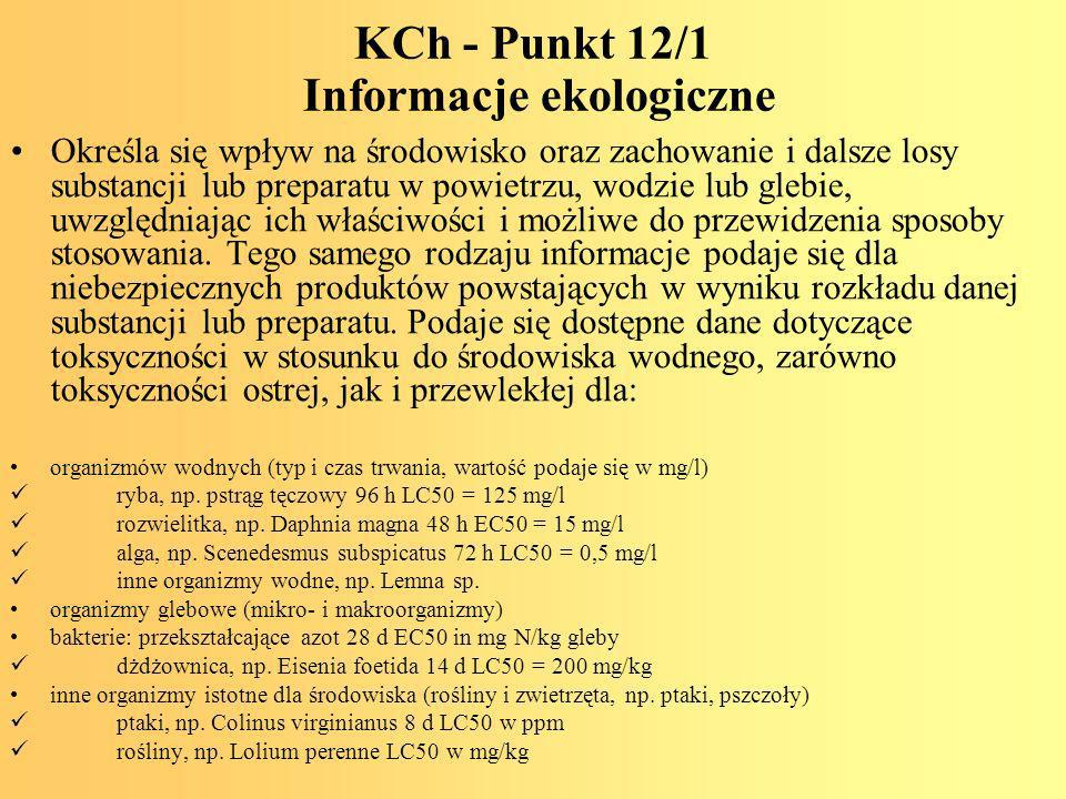 KCh - Punkt 12/1 Informacje ekologiczne