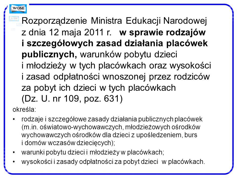 Rozporządzenie Ministra Edukacji Narodowej z dnia 12 maja 2011 r