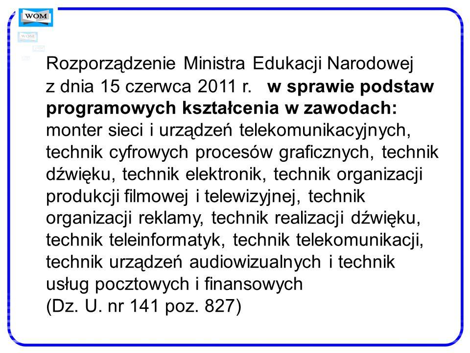 Rozporządzenie Ministra Edukacji Narodowej z dnia 15 czerwca 2011 r
