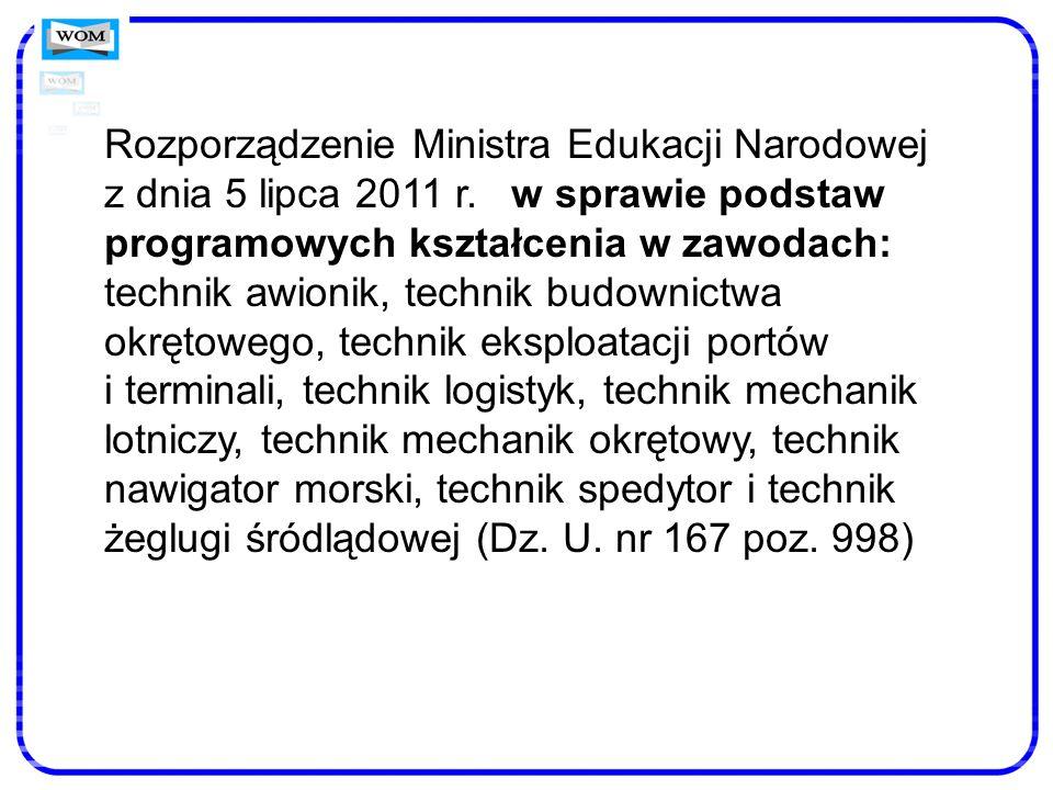 Rozporządzenie Ministra Edukacji Narodowej z dnia 5 lipca 2011 r