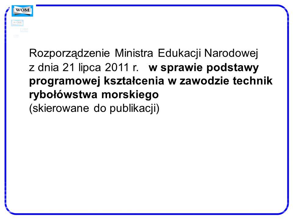 Rozporządzenie Ministra Edukacji Narodowej z dnia 21 lipca 2011 r