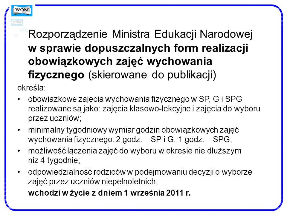 Rozporządzenie Ministra Edukacji Narodowej w sprawie dopuszczalnych form realizacji obowiązkowych zajęć wychowania fizycznego (skierowane do publikacji)