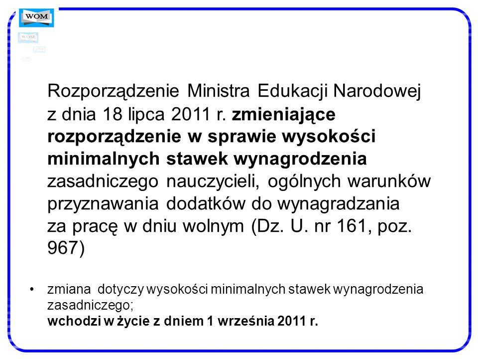 Rozporządzenie Ministra Edukacji Narodowej z dnia 18 lipca 2011 r