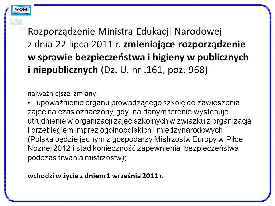 Rozporządzenie Ministra Edukacji Narodowej z dnia 22 lipca 2011 r