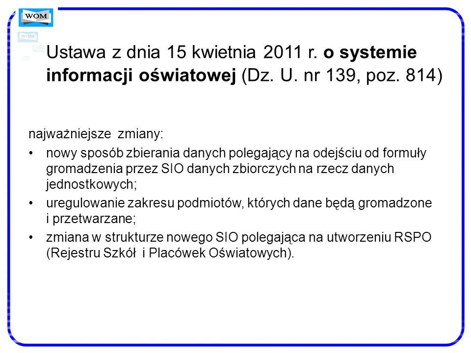 Ustawa z dnia 15 kwietnia 2011 r. o systemie informacji oświatowej (Dz