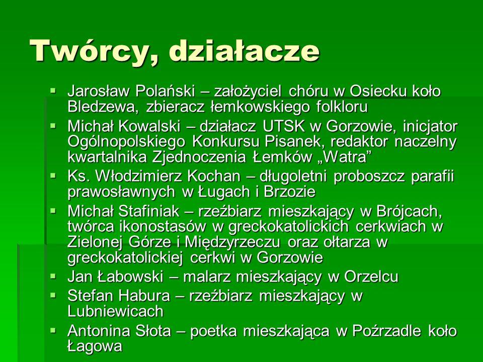 Twórcy, działaczeJarosław Polański – założyciel chóru w Osiecku koło Bledzewa, zbieracz łemkowskiego folkloru.