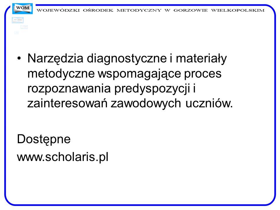 Narzędzia diagnostyczne i materiały metodyczne wspomagające proces rozpoznawania predyspozycji i zainteresowań zawodowych uczniów.