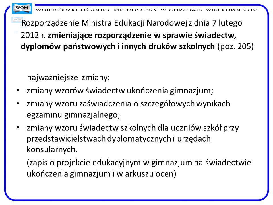 Rozporządzenie Ministra Edukacji Narodowej z dnia 7 lutego 2012 r
