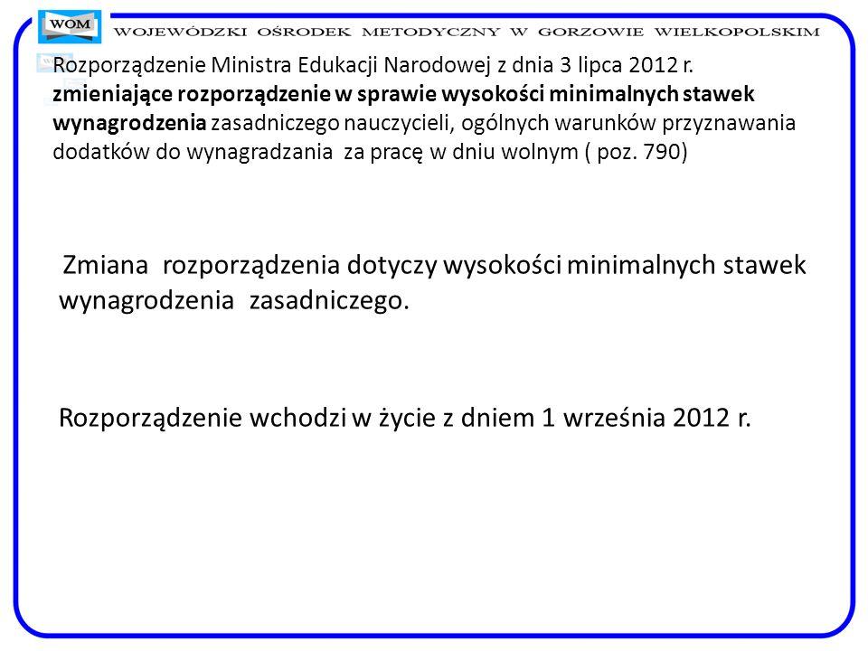 Rozporządzenie Ministra Edukacji Narodowej z dnia 3 lipca 2012 r